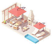 Vector isometric patio with barbecue and pool