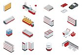 Vector isometric set elements for super market interior plan. Store shelves, cart, basket, equipment store, payment systems in flat style isolated on white background for your design