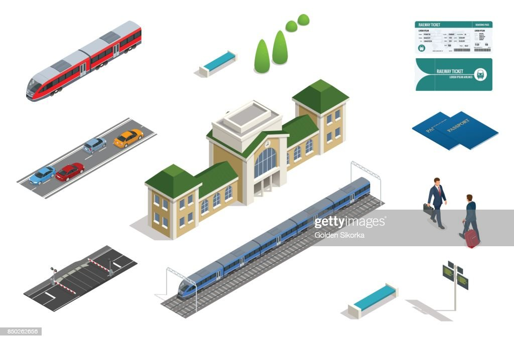 Vector isometric set railroad objects, buildings, plants, cars, road paths and other urban items and elements. Subway train collection. Vehicles designed to carry large numbers of passengers.