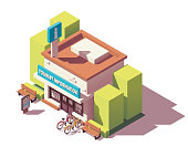 Vector isometric tourist information center