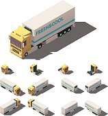 Vector isometric truck with insulated or refrigerated semi-trailer icon
