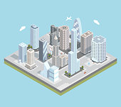 Vector isometric urban city center map with buildings