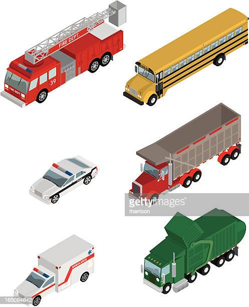 vector isometric utility vehicles - fire engine stock illustrations, clip art, cartoons, & icons