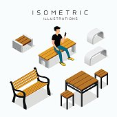 Vector isometric wooden bench collection