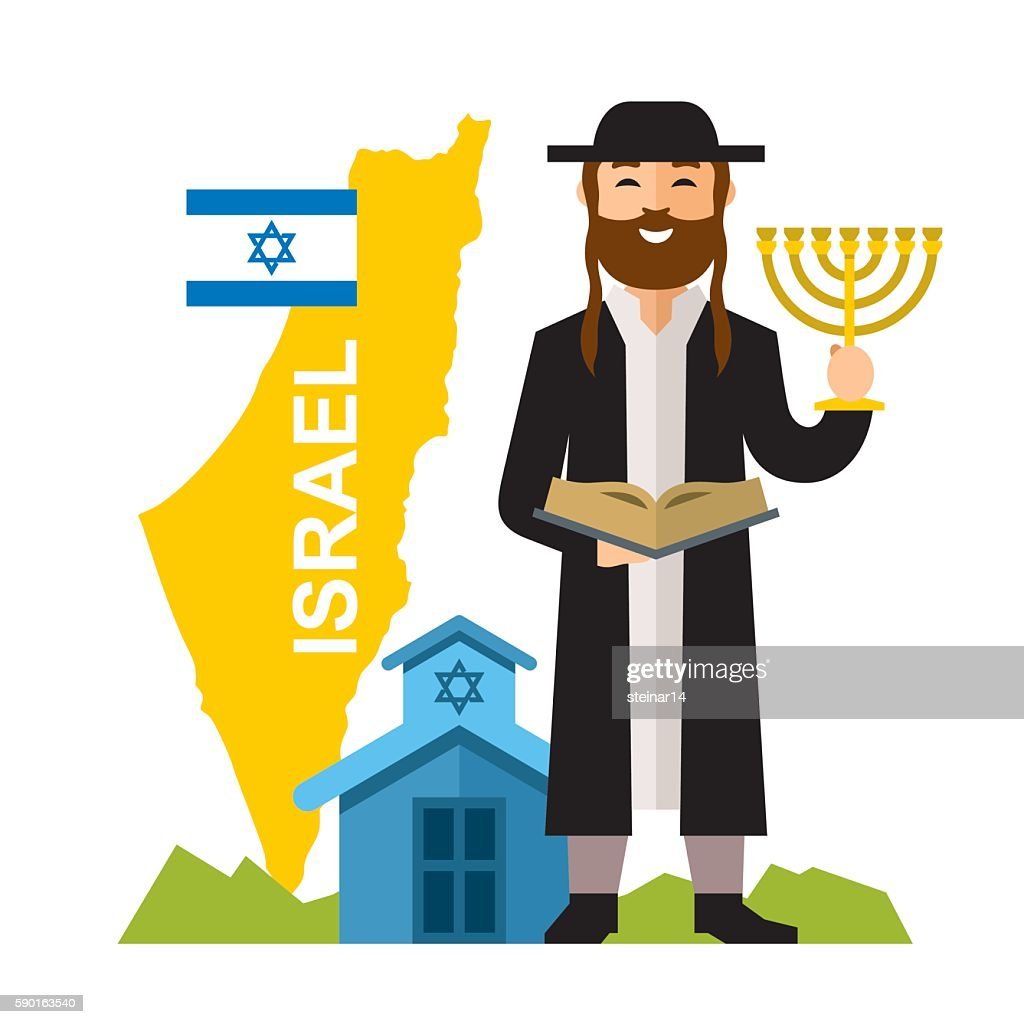 Vector Israel Country Concept. Flat style colorful Cartoon illustration.