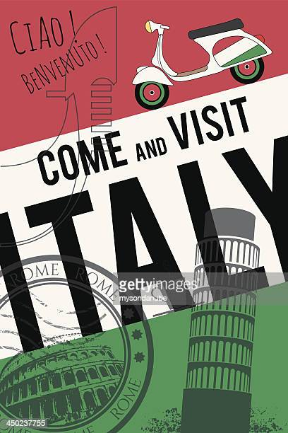 vector italy travel invitation poster - leaning tower of pisa stock illustrations, clip art, cartoons, & icons