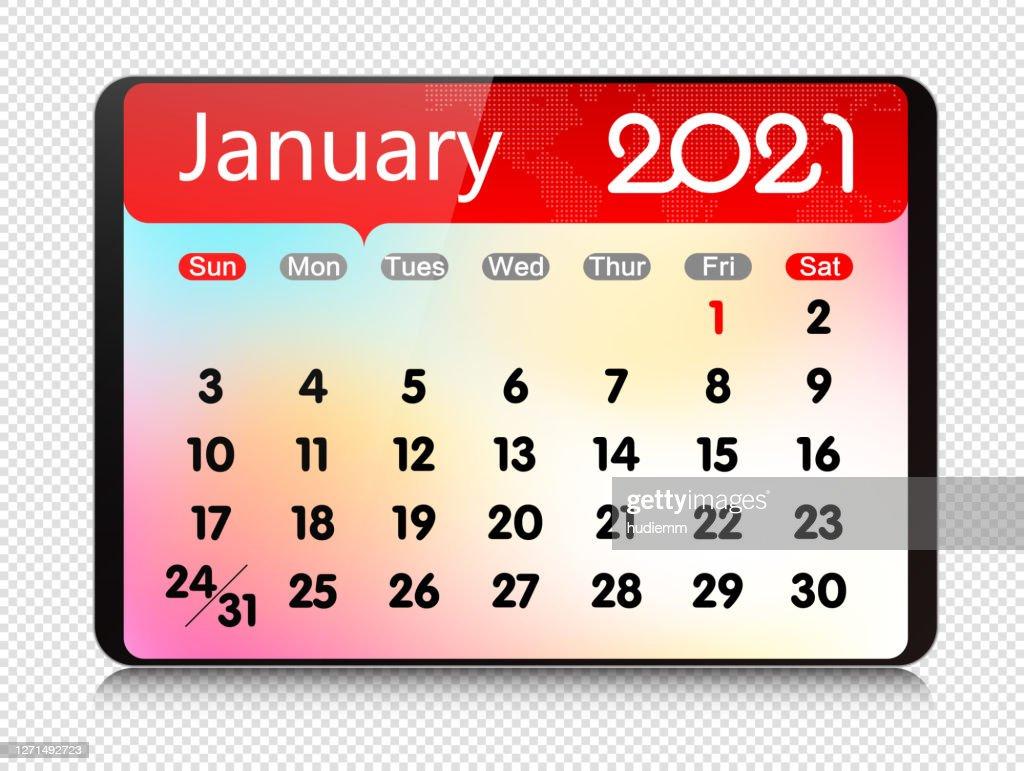 Vector Janvier 2021 Calendrier Sur Tablette Numérique Isolé