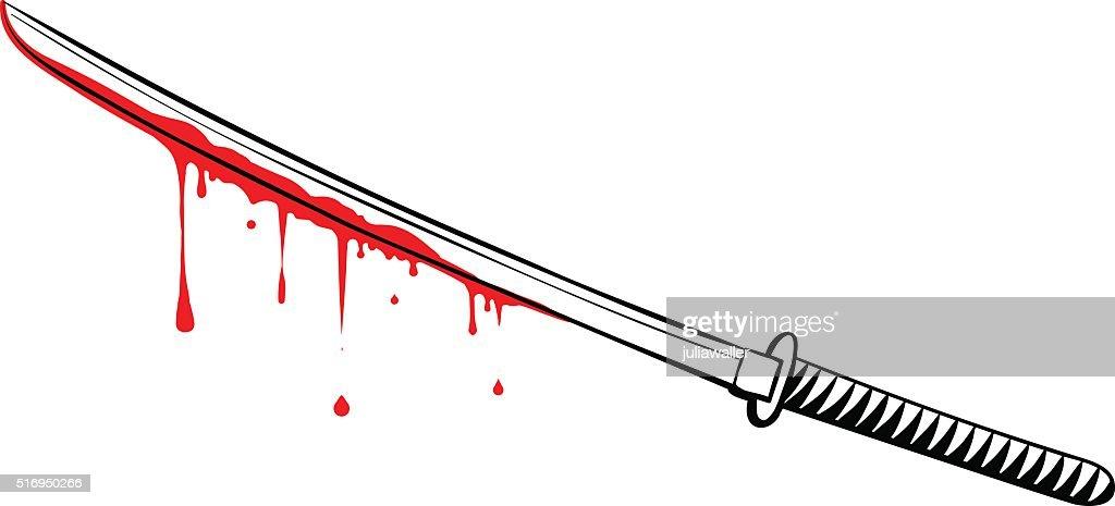 Vector Japanese Bloody Katana Illustration