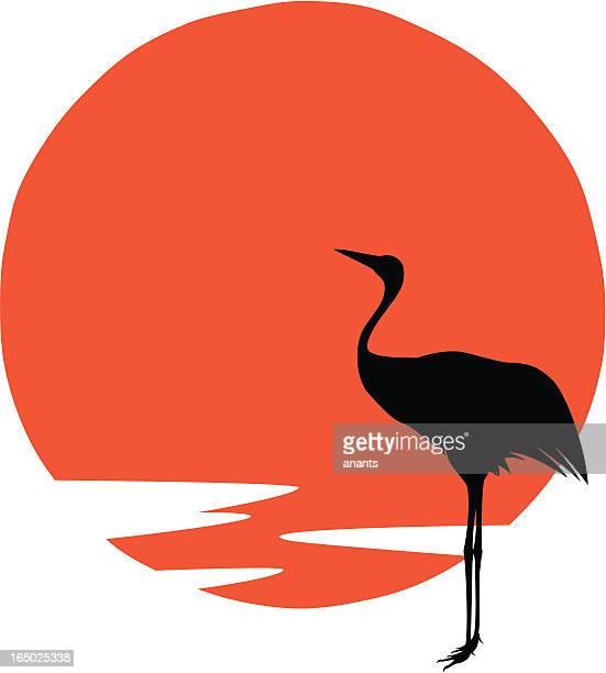 vector - japanese crane bird - crane bird stock illustrations