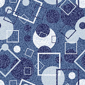 Vector Jeans background with circles and squares. Denim seamless pattern. Blue jeans cloth.