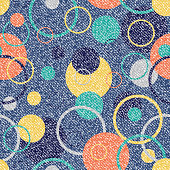 Vector Jeans background with circles. Denim seamless pattern. Blue jeans cloth with colored circles.