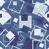 Vector Jeans background with squares. Denim seamless pattern. Blue jeans cloth.
