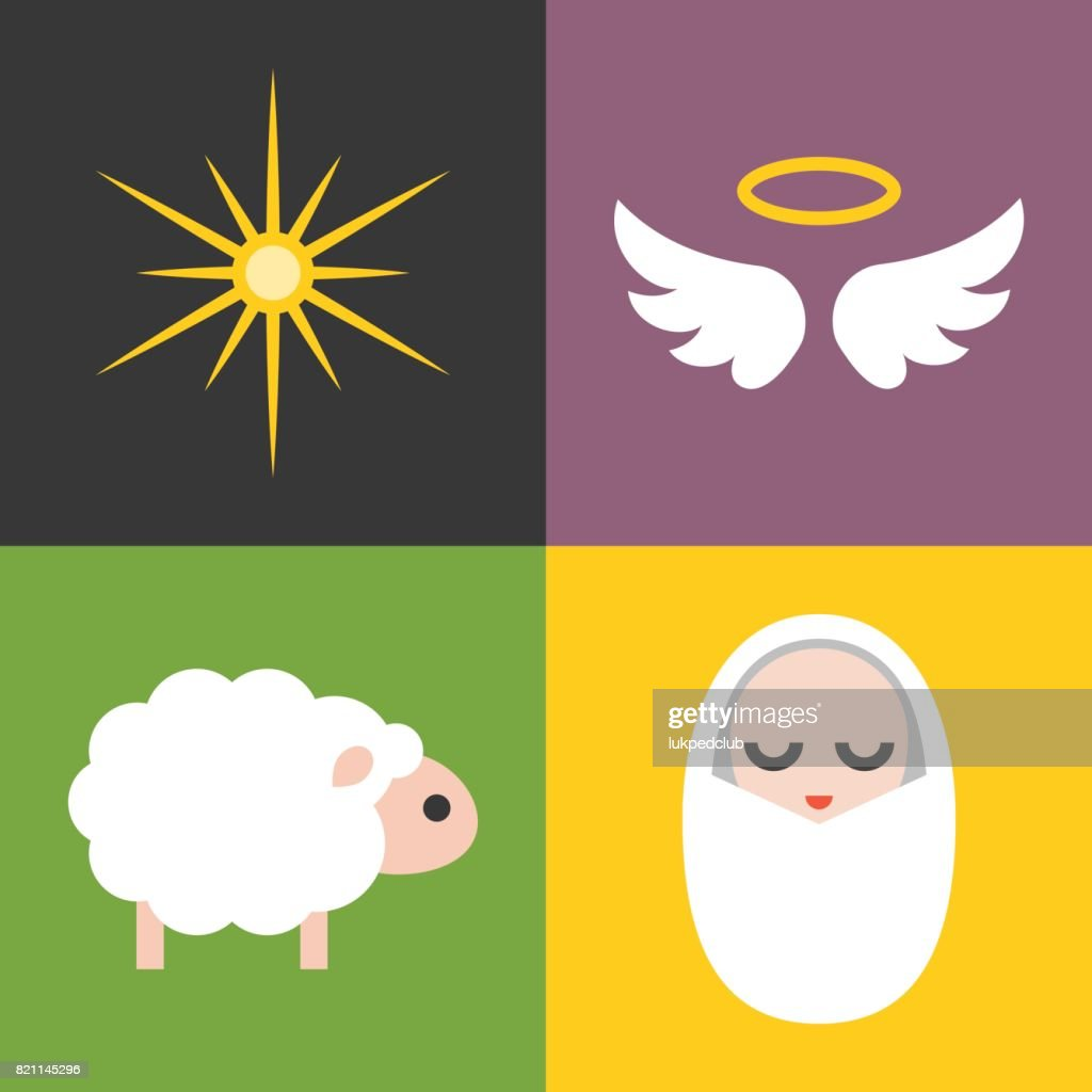 Vector jesus born icons set