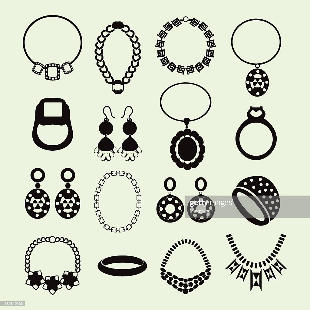 vector jewelry icons set