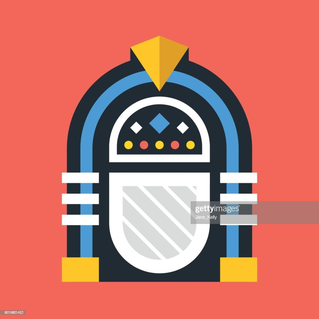 Vector jukebox icon. Retro jukebox. Flat design vector illustration