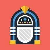 Vector jukebox icon. Retro jukebox. Flat design vector illustration