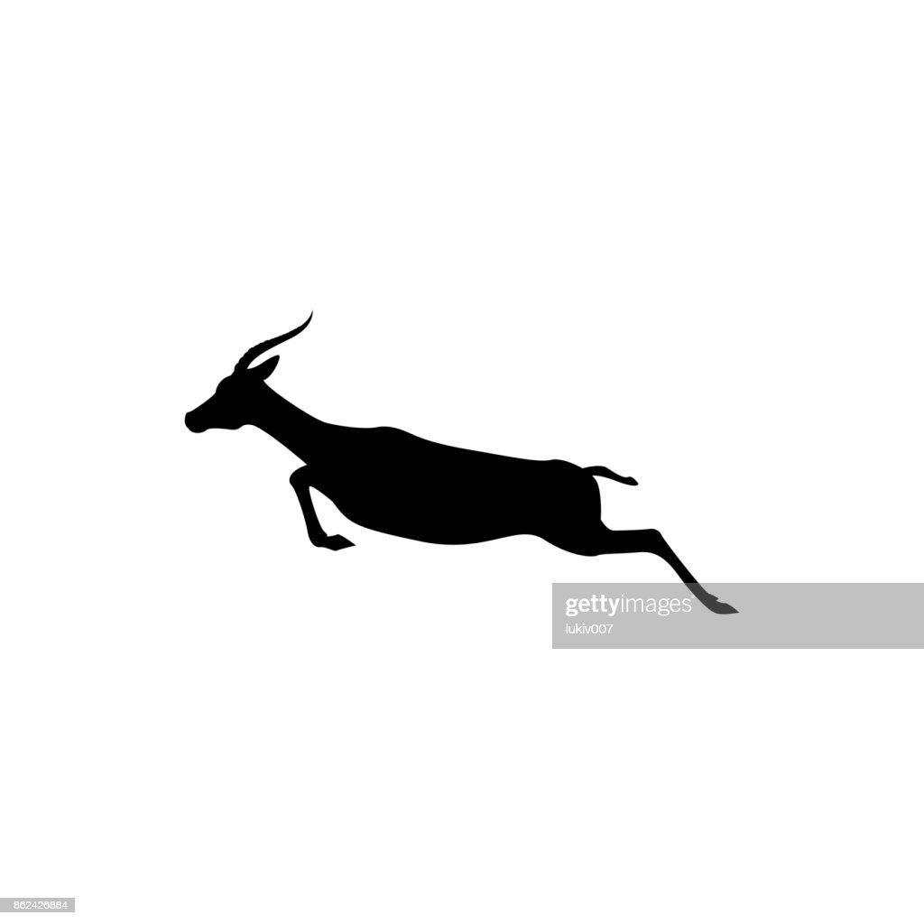 Vector jump antelope silhouette view side for retro symbols, emblems, badges, labels template vintage design element. Isolated on white background
