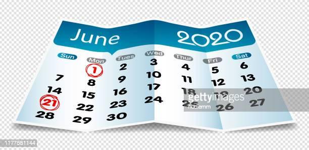折り紙にベクトル2020年6月カレンダーを分離 - 六月点のイラスト素材/クリップアート素材/マンガ素材/アイコン素材