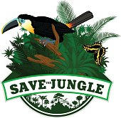 Vector Jungle Emblem with channel-billed toucan and butterfly
