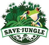 Vector Jungle Emblem with Frog