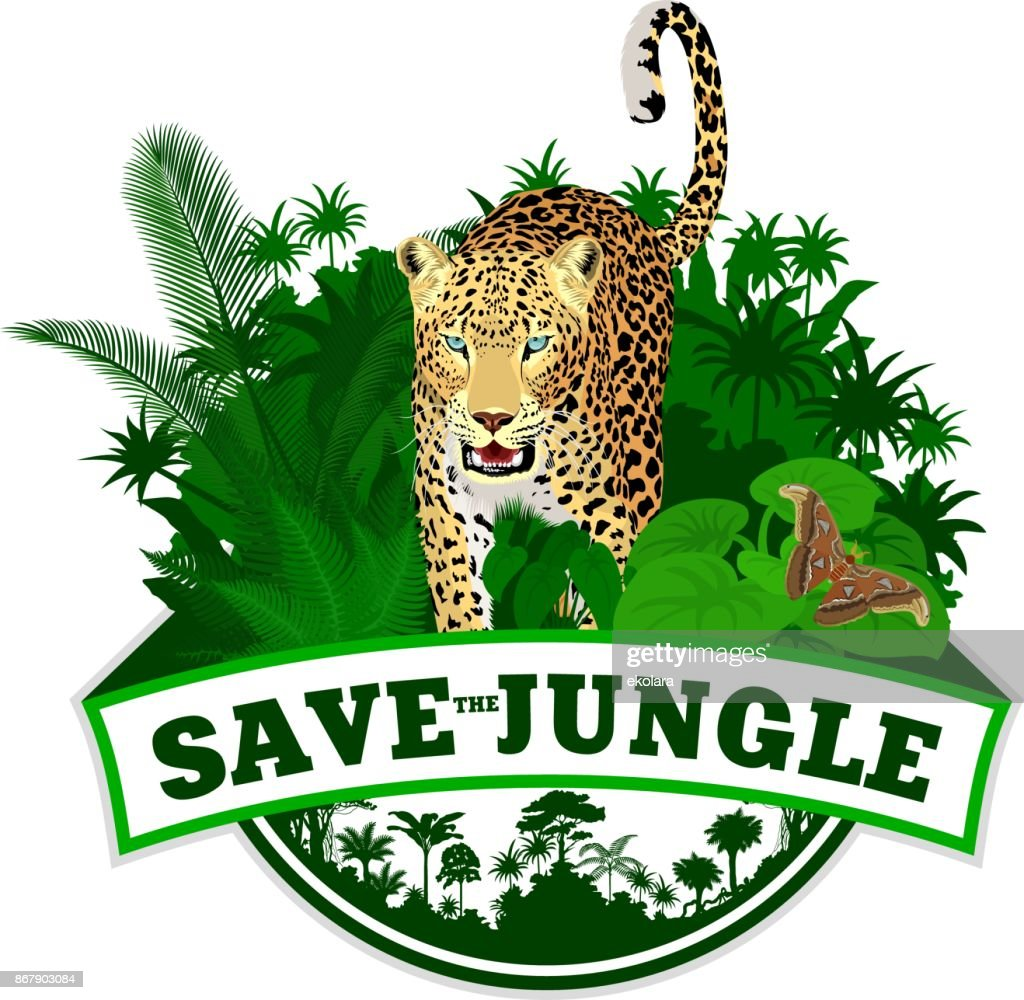 Vector jungle emblem with jaguar leopard and butterfliy