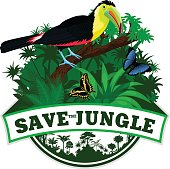 Vector Jungle Emblem with rainbow-billed toucan and butterflies