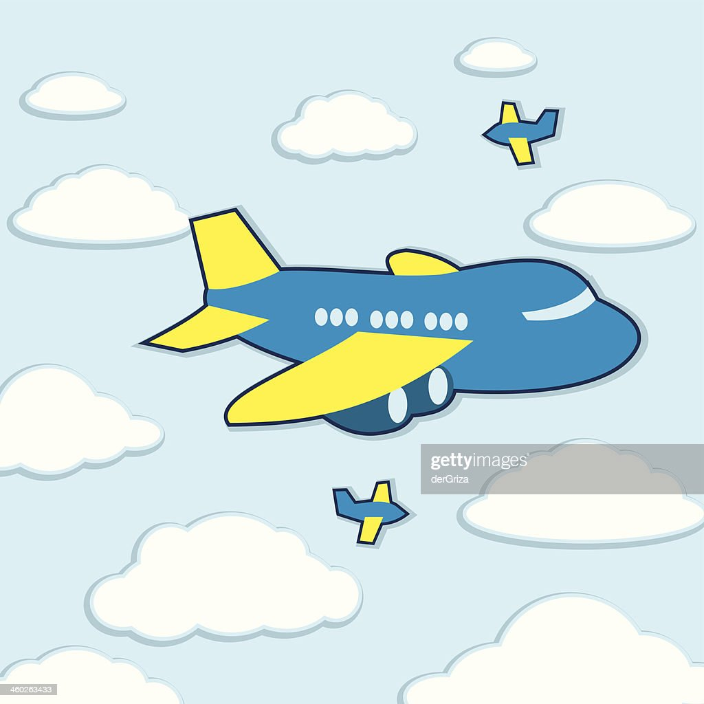 vector kawaii cartoon airplane