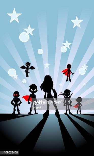 vector kids superhero team silhouette with sunburst background - cape garment stock illustrations