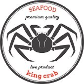 Vector king crab silhouette. Crab label.