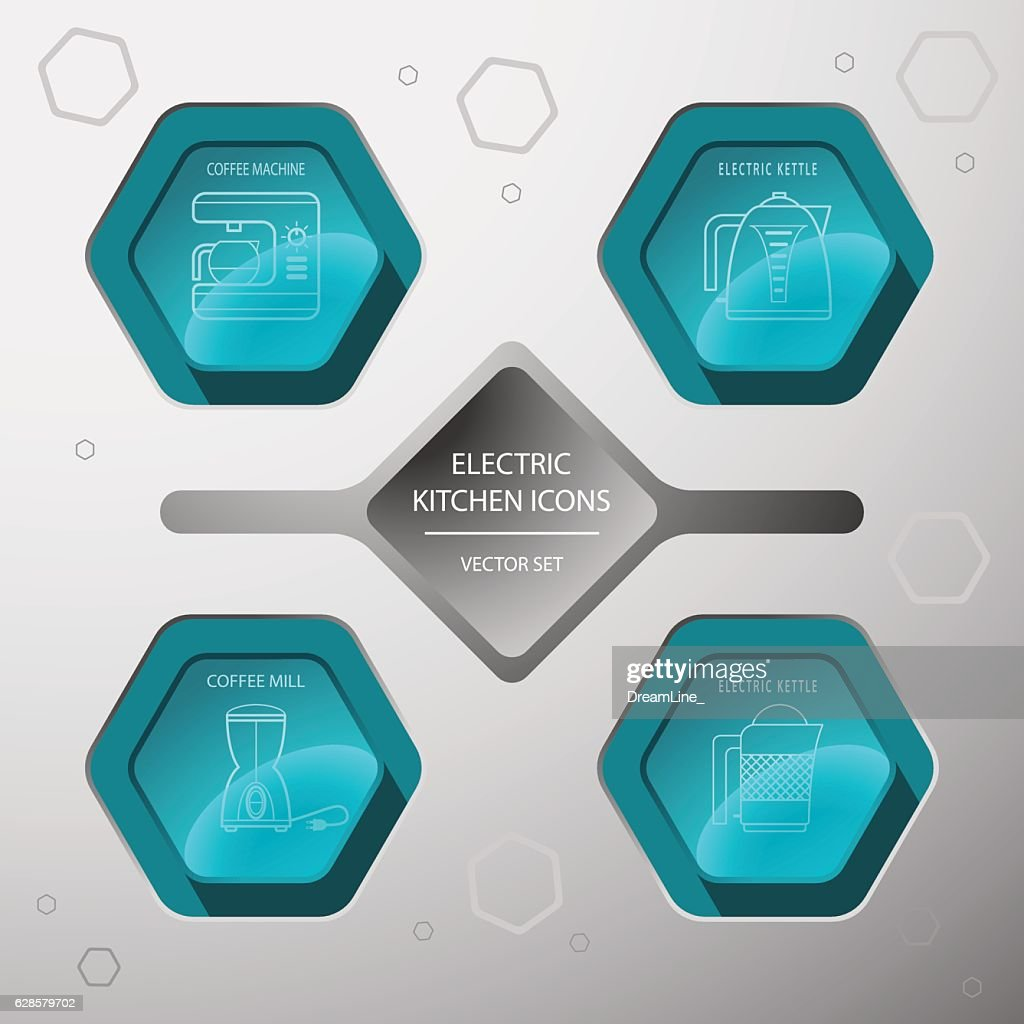 Vector kitchen devices icon set on the hexagon gradient background