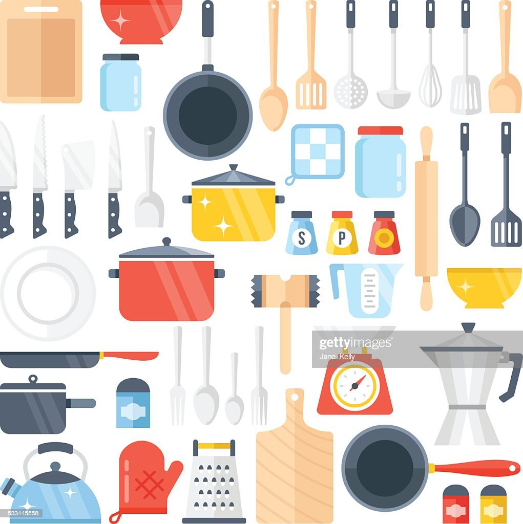 Vector kitchen tools set. Kitchenware collection. Flat design vector illustration