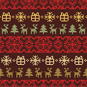 Vector knitted Christmas seamless pattern. New Year pixel endless texture. Nativity background.