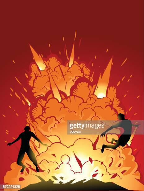 vector knocked off by explosions - action movie stock illustrations