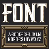 Vector label font with ornament