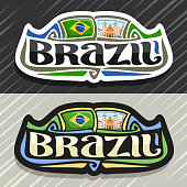 Vector label for Brazil