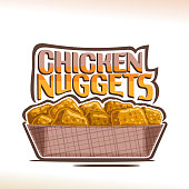 Vector label for crispy Chicken Nuggets