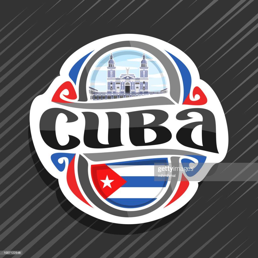 Vector label for Cuba