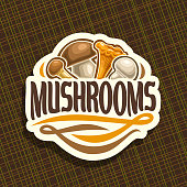 Vector label for Mushrooms