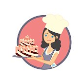 Vector label, sticker or badge design concept with female character. Cute girl or young woman baker holding a delicious cake