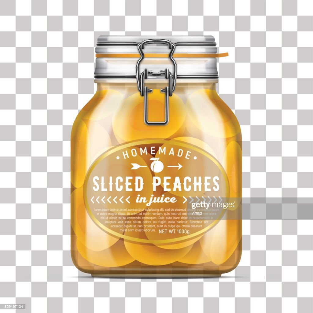 Vector labeled Swing Top Bale Glass Jar filled with sliced peaches in juice. Realistic mockup illustration.