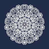 Vector lace round pattern. Mandala with ornamental flowers. Decorative element for design and fashion