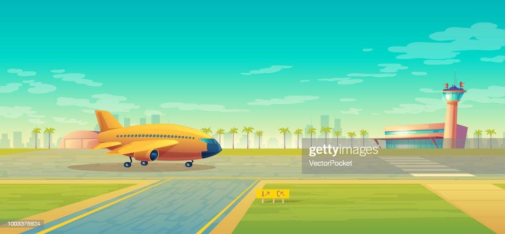 Vector landing strip for airplanes, terminal near