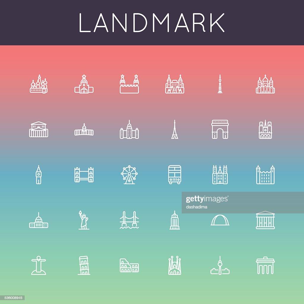 Vector Landmark Line Icons