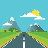 Vector landscape background. Road in green valley, mountains and sky.