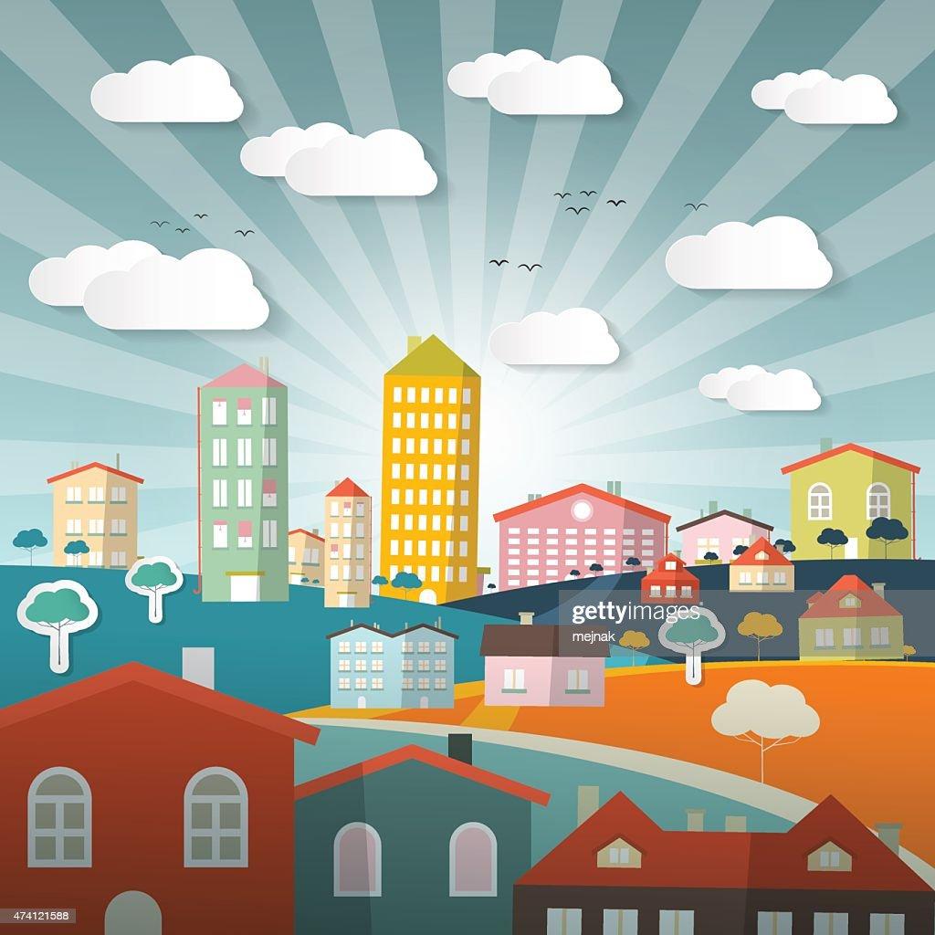 Vector Landscape Town or City