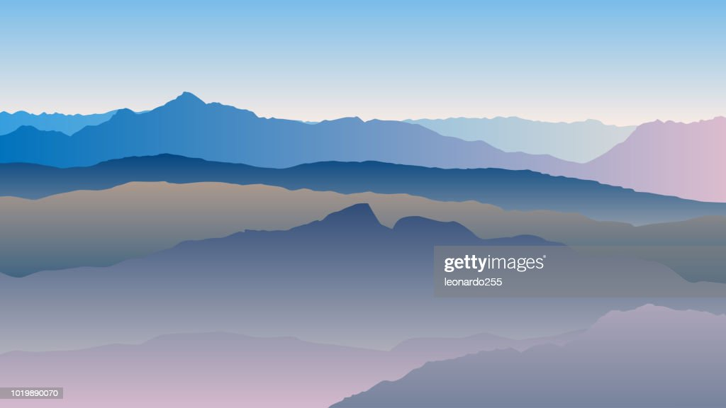 Vector landscape with blue silhouettes of mountains