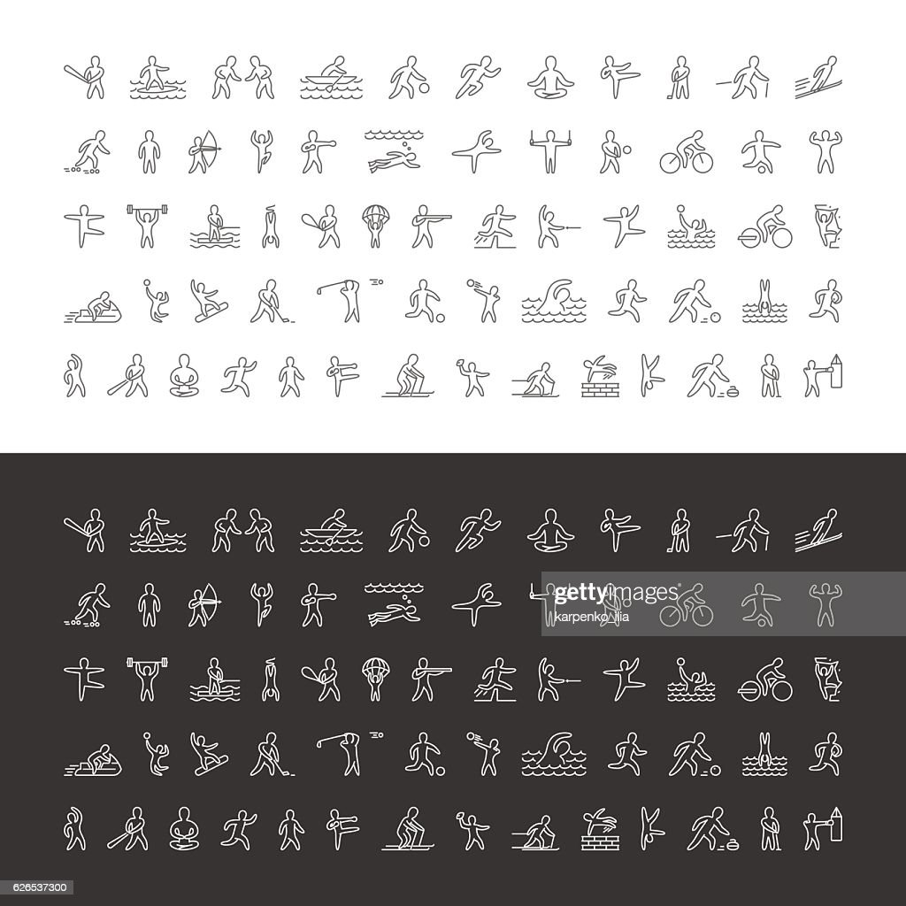 Vector large line set of sports icons.
