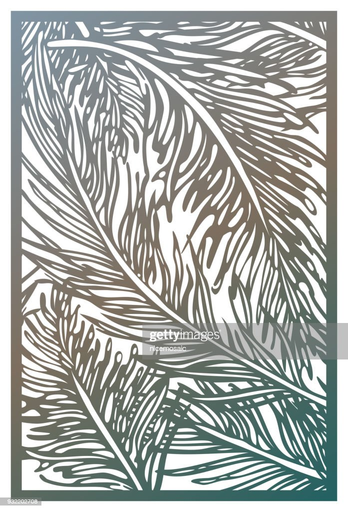 Vector Laser cut panel. Abstract Pattern with feathers template for decorative panel. Template for interior design, layouts wedding invitations, gritting cards, envelopes, decorative art objects etc. Image suitable for engraving, printing, plotter cutting