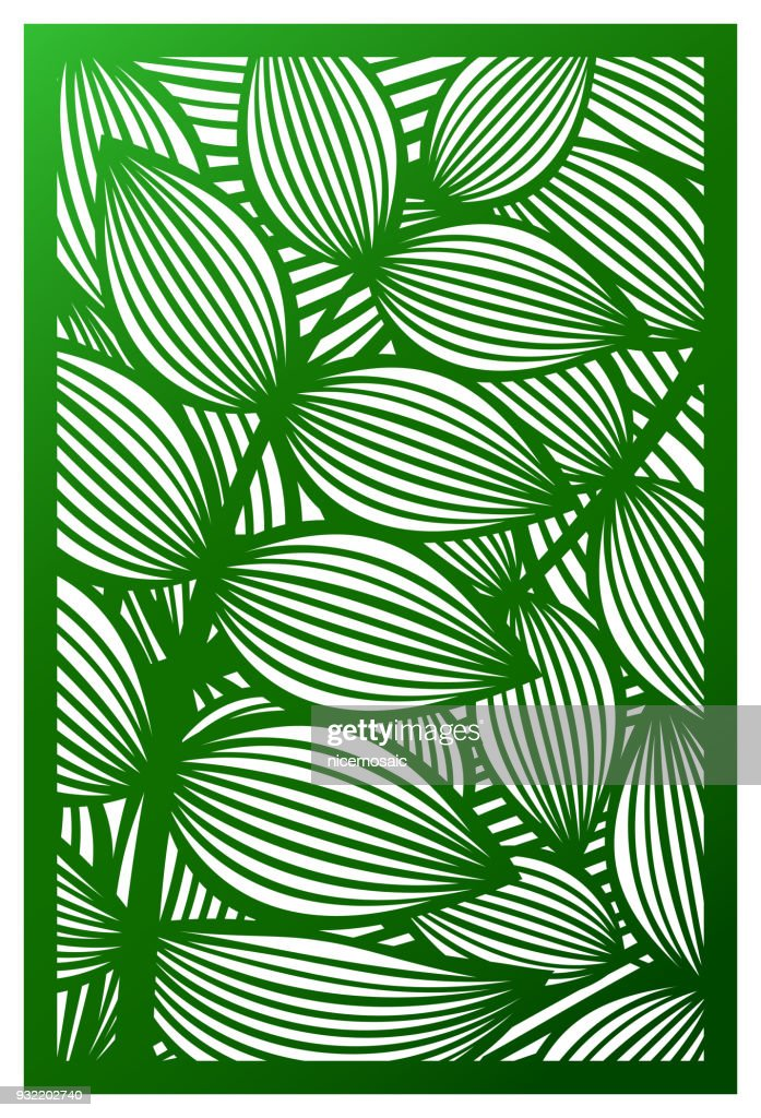 Vector Laser cut panel. Cutout silhouette with botanical pattern. Abstract Pattern template for decorative panel. Template for interior design, layouts wedding invitations, gritting cards, envelopes, decorative art objects etc. Image suitable for engravin