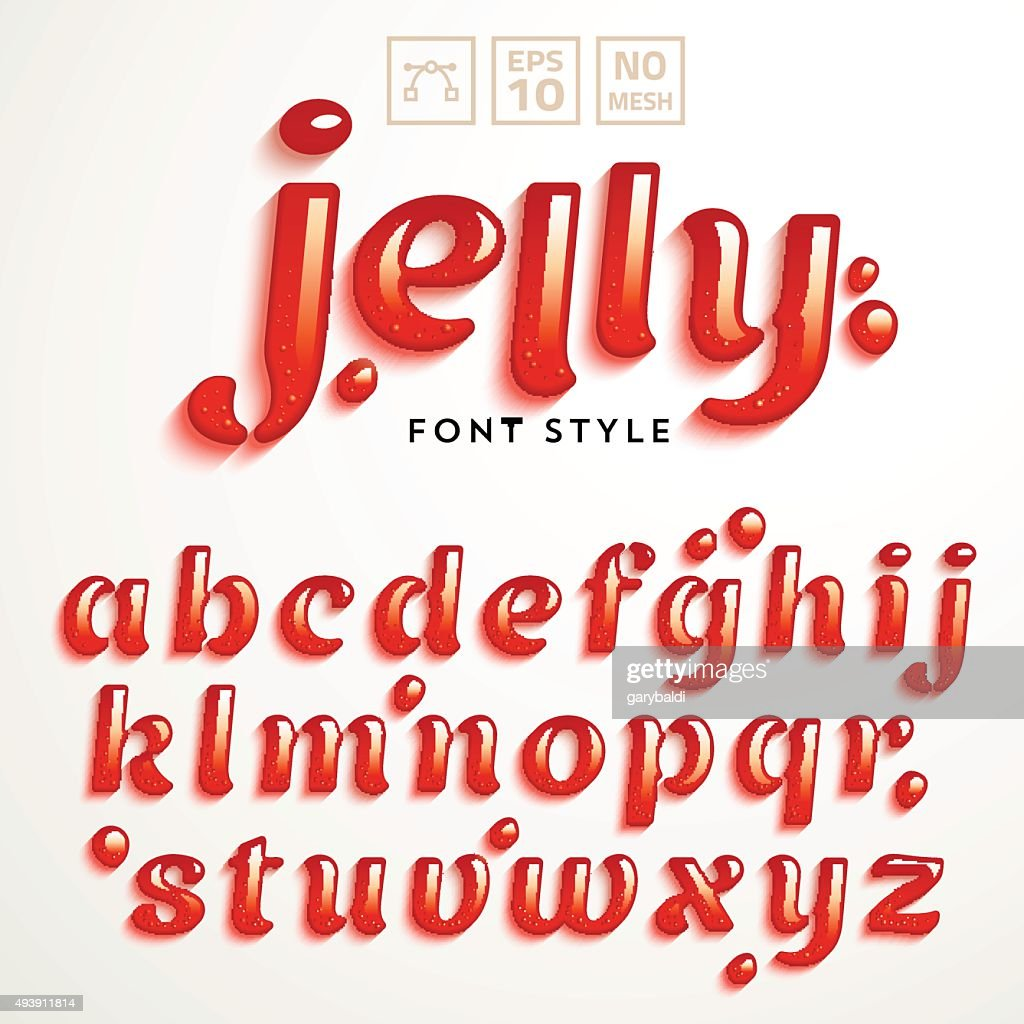 Vector latin alphabet made of strawberry jelly. Font style.